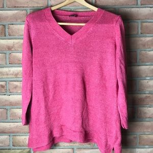 Talbots size XL pink linen, 3/4 sleeved sweater